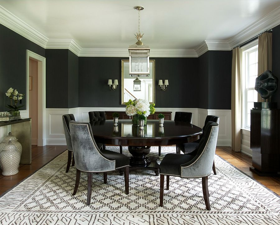 How to use black to create a stunning refined dining room - Black walls in dining room ...