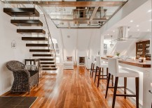 Cool floating staircase adds to the minimalist Scandinavian design of the home 217x155 Awesome Glass Flooring and Scandinavian Beauty Shape Stockholms Attic Duplex