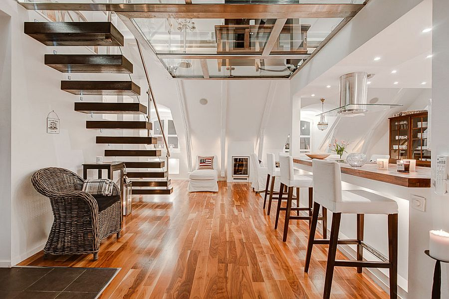 Scandinavian Design Houses attic apartment with awesome glass flooring in stockholm