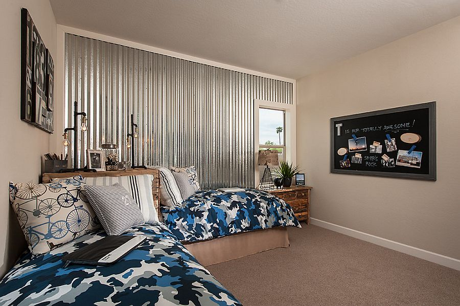 Corrugated metal wall adds an interesting visual to the elegant kids' bedroom [Design: Camelot Homes]
