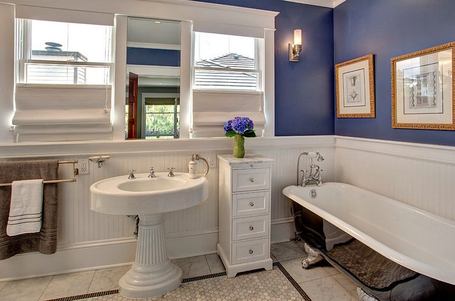 View in gallery Craftsman style bathroom with bathtub in black and purple walls [Design: Kathryn Tegreene Interior