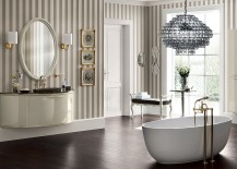 Curved washbasin unit with gold profile and jewel handles 217x155 Magnifica: Luxurious Italian Bathroom True to Its Name!