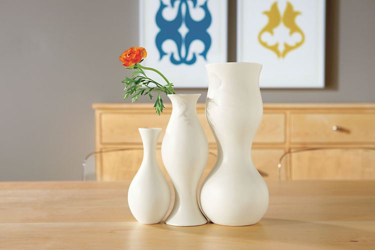 Curved white vases from Room & Board
