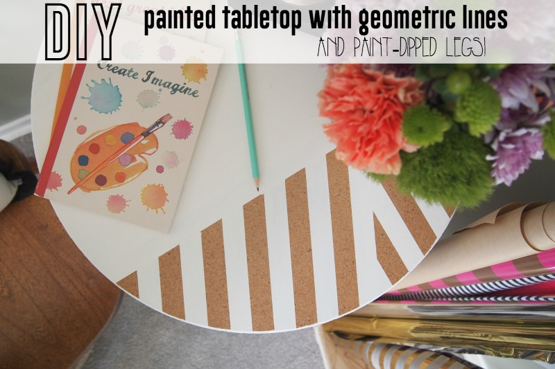 DIY painted table with paint-dipped legs