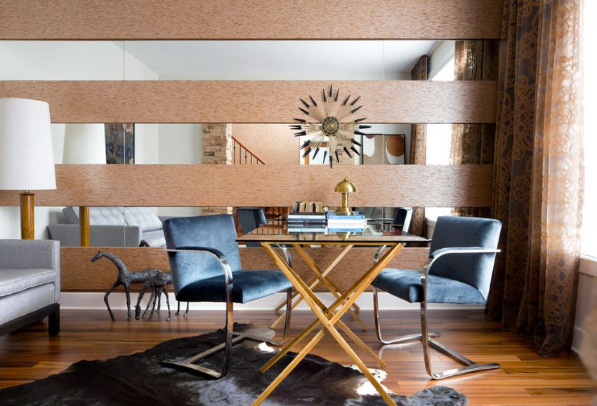 Decorative wall in a luxe dining room