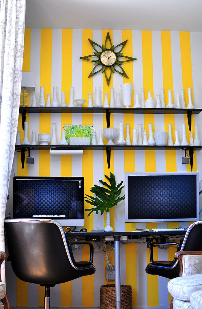 10 striped home office accent wall ideas inspirations How to decorate a home office