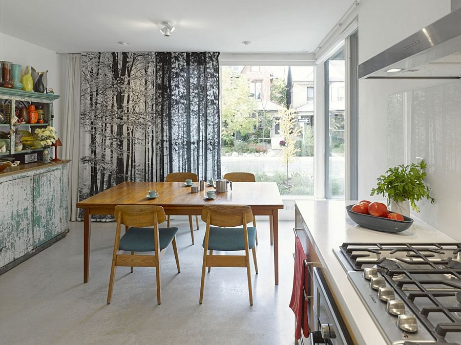 Dining area combined with the kitchen saves up on space