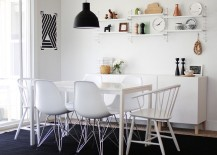 Dining room with Scandinavian style in black and white