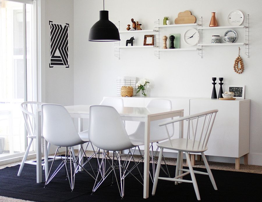 Dining room with Scandinavian style in black and white [From: Jennifer Hagler]