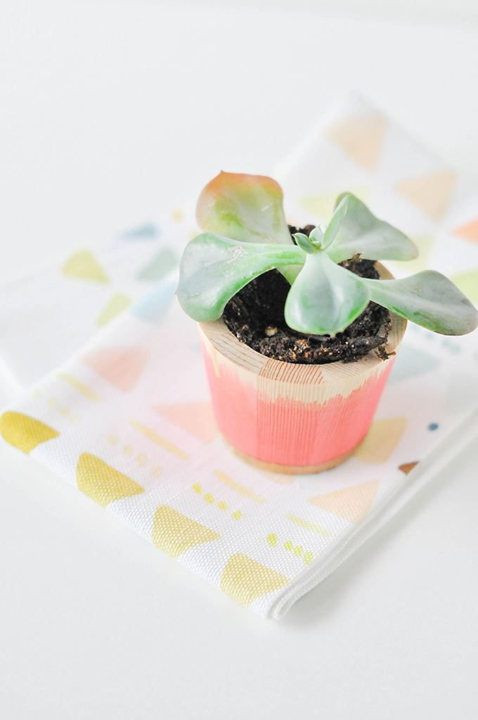 Dip dyed planter from Proper Colorful Modern Easter Ideas for a Festive Celebration