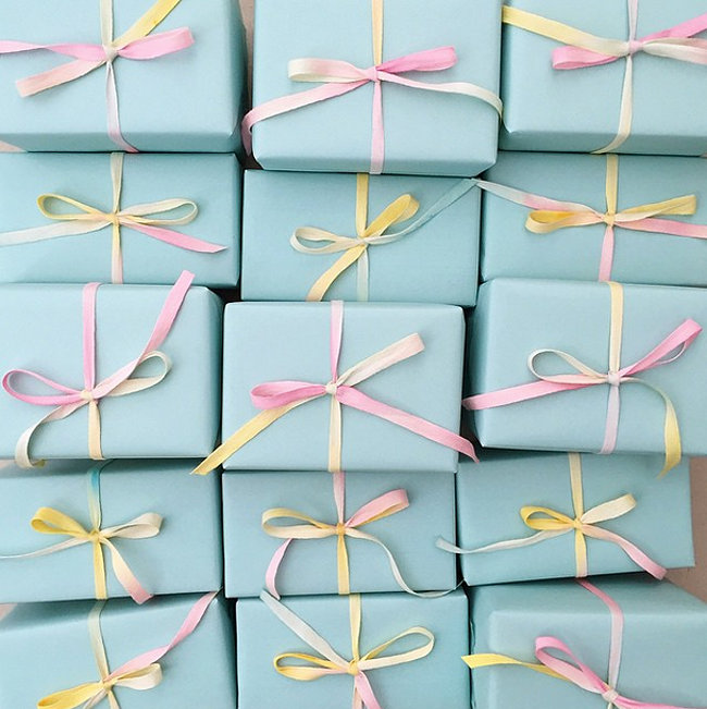 Dyed ribbon embellishes pastel packages
