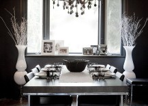 Eclectic dining room in black with hints of white!