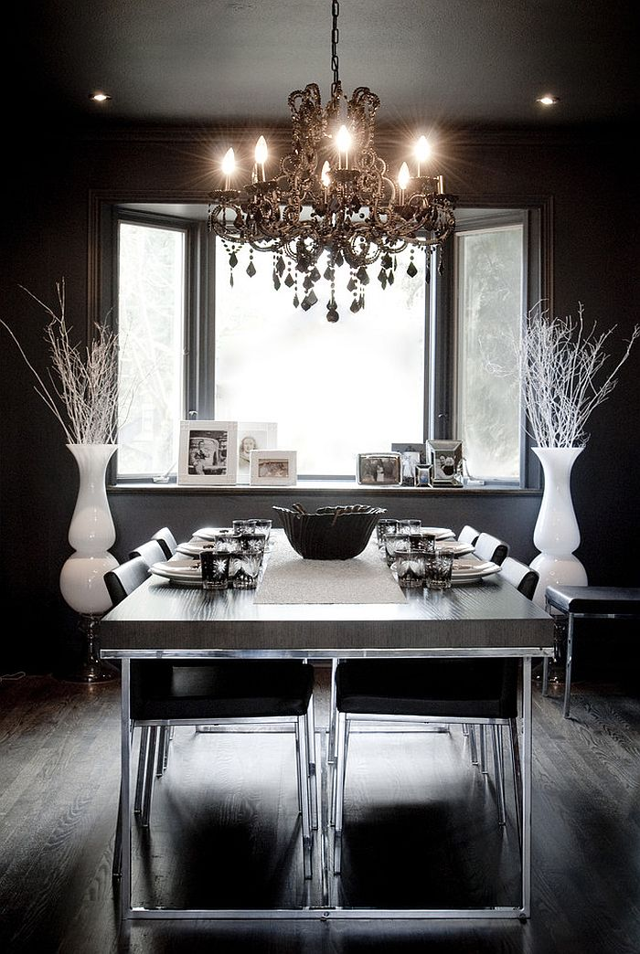 Eclectic dining room in black with hints of white! [Design: Gaile Guevara]