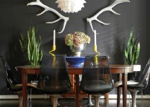 Eclectic dining room with dark refined appeal 217x155 25 Elegant and Exquisite Gray Dining Room Ideas