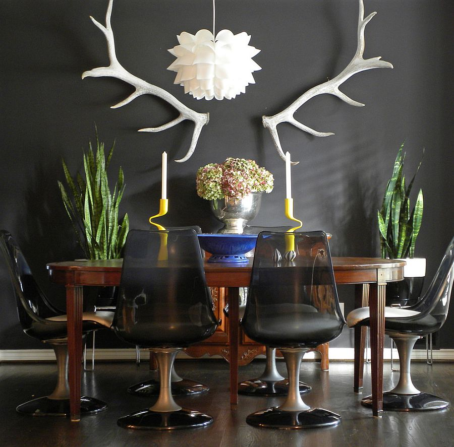 Eclectic dining room with dark, refined appeal [From: Sarah Greenman]