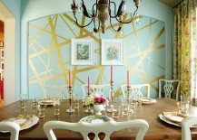 Eclectic-dining-room-with-unique-striped-accent-wall-217x155