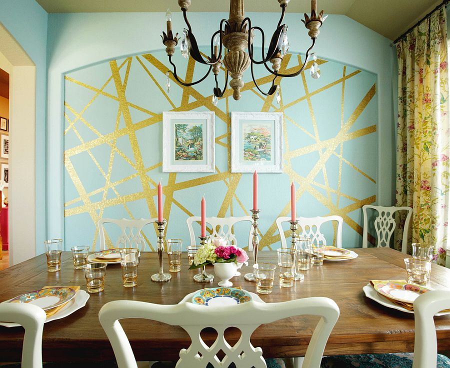 Eclectic dining room with unique striped accent wall [Design: Pink Door Designs]