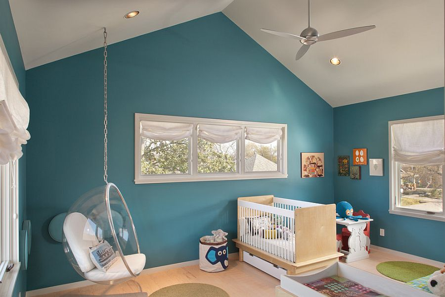 Eero Aarnio Bubble Chair in the contemporary nursery [From: Benjamin Hill Photography]