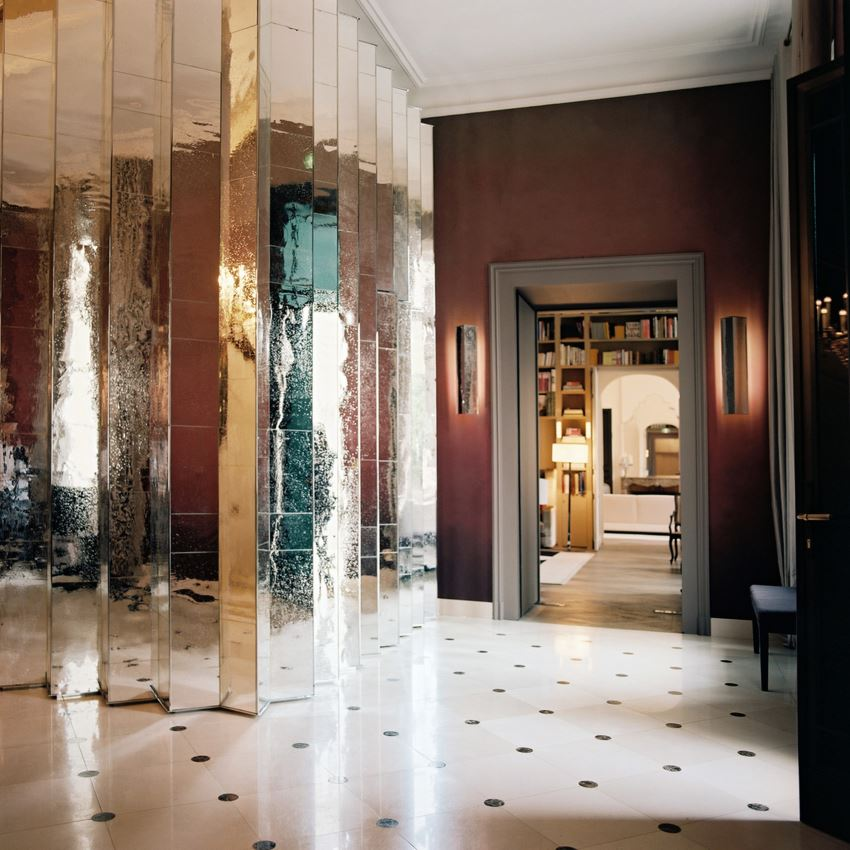 view in gallery elegant entryway with a pleated mirror wall - Mirror Wall Designs