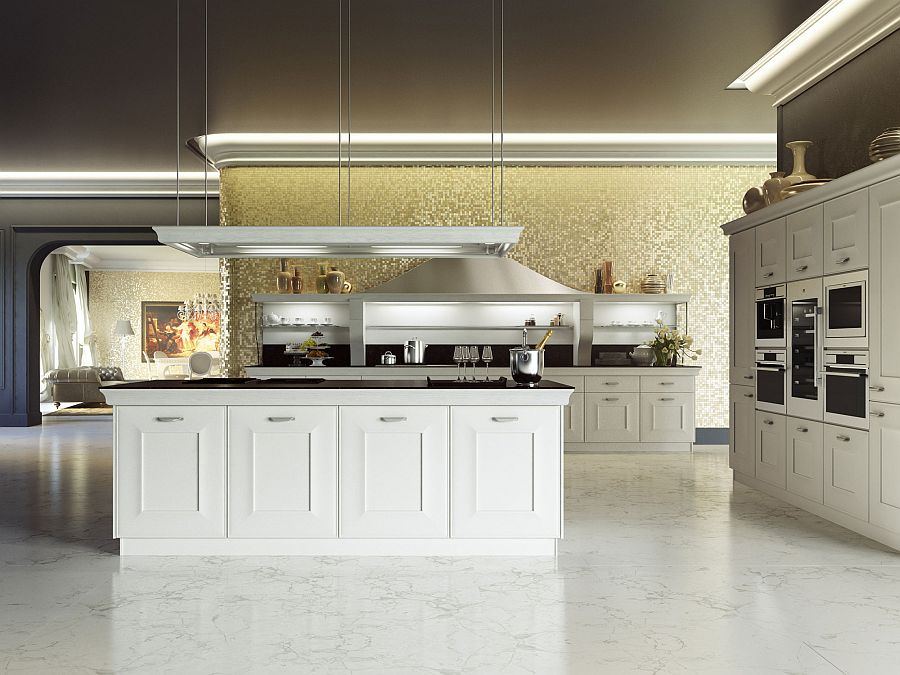 Elegant modern kitchen in white from Snaidero Distinctive Metallic Hoods and Modular Flexibility Shape Classy Gioconda
