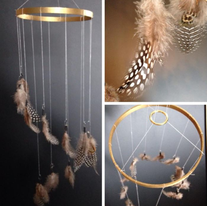 Embroidery hoop feather mobile
