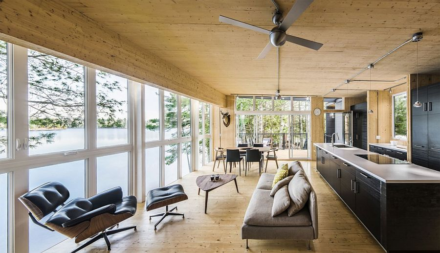 Exposed Cross Laminated Timber gives the interior a unique visual