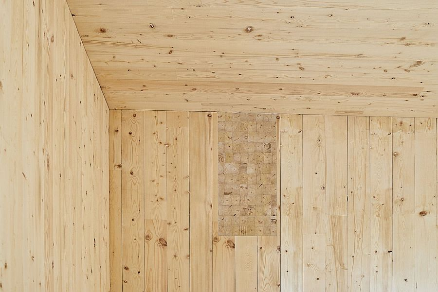 Exposed five-ply Cross Laminated Timber gives the interior a unique visual