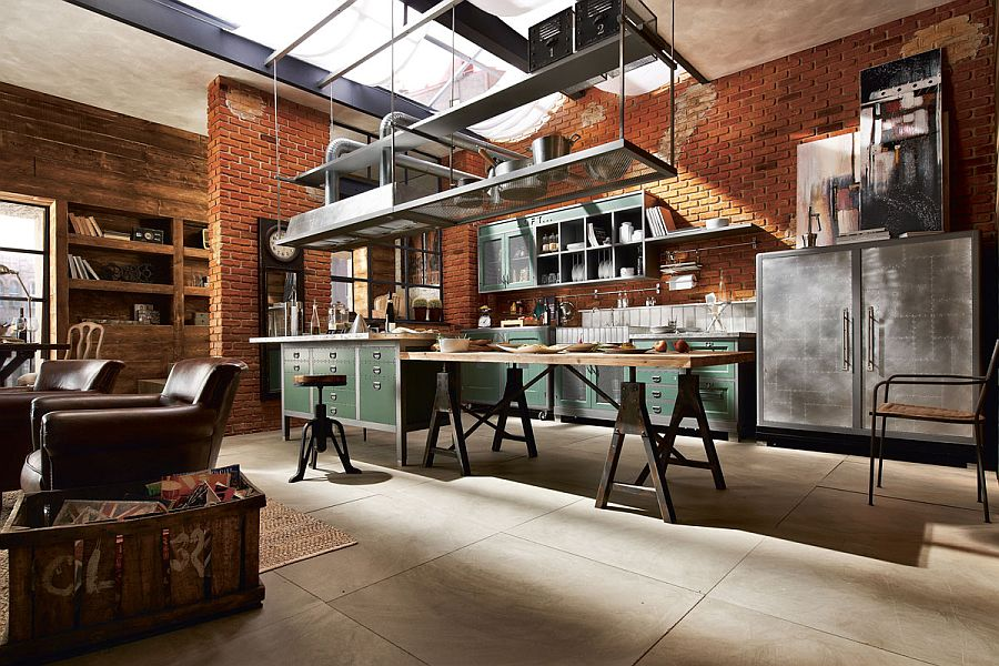 View In Gallery Exquisite Loft Kitchen Composition With Elegant, Vintage  Style