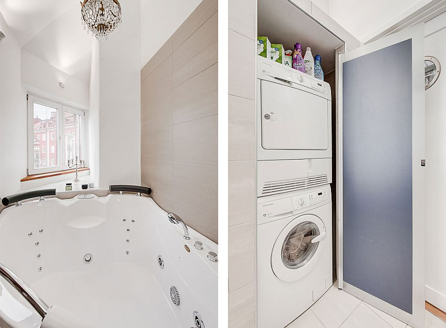 Exquisite attic apartment manages to fit in even a Jacuzzi and laundry space
