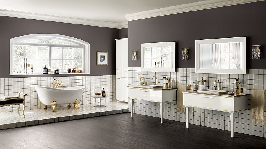 Exquisite bathroom in gray white and gold Magnifica: Luxurious Italian Bathroom True to Its Name!