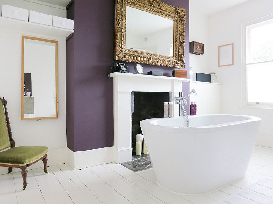 Exquisite eclectic bathroom with a purple accent wall [Design: Mad About Your House]