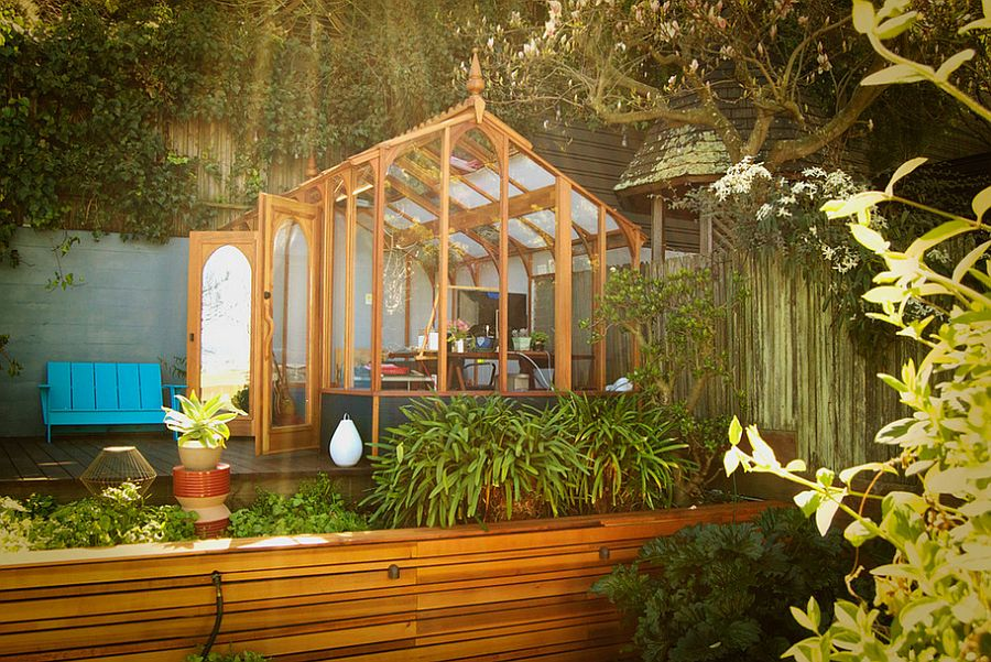 exquisite garden studio is surrounded by greenery design la boite a clous