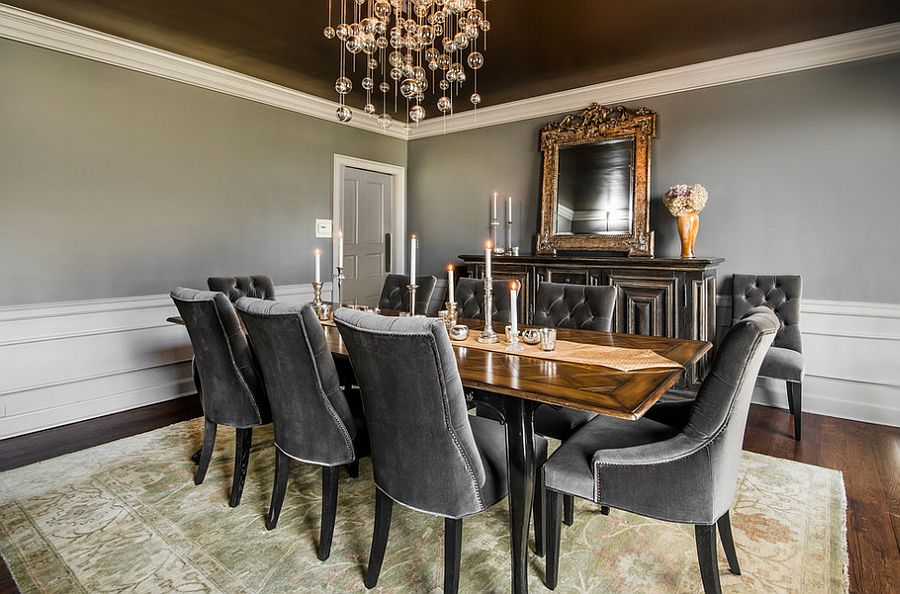 Extensive use of gray in the transitional dining room [Design: E.V.M. Bespoke Design]