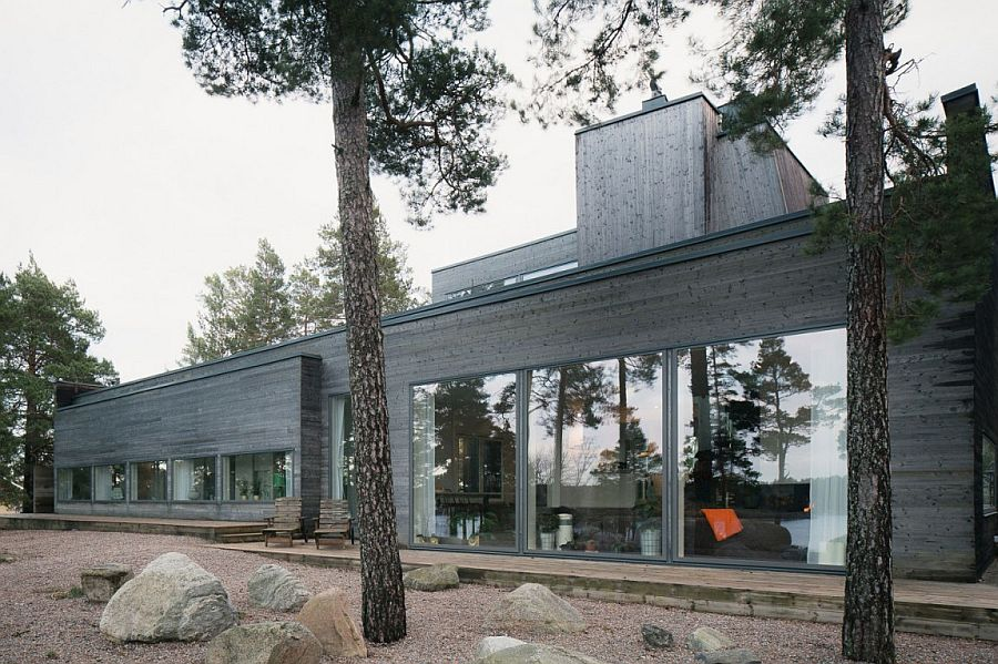 Exterior of the Swedish home in modern gray