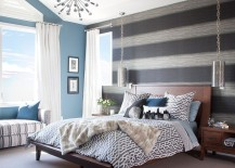 Fabulous bedroom has a cheerful breezy ambiance 217x155 20 Trendy Bedrooms with Striped Accent Walls