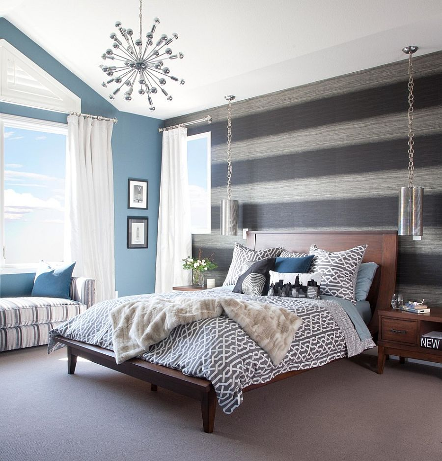 20 trendy bedrooms with striped accent walls for Black and grey bedroom wallpaper