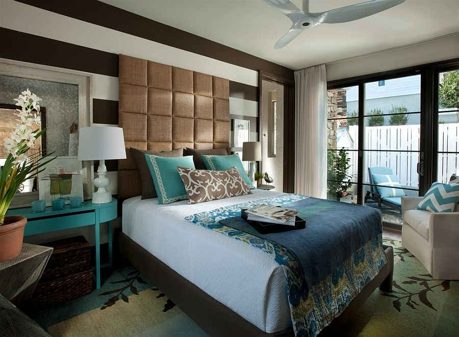 Lovely headboard steals the show in this gorgeous bedroom [Design: Kemp Hall Studio]