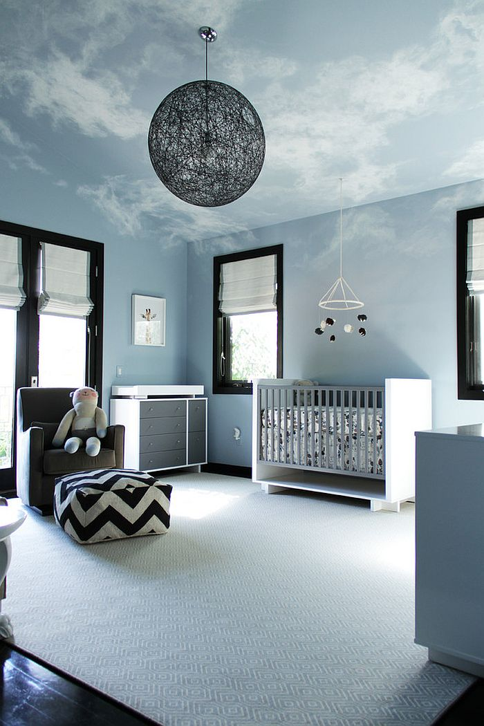 Fabulous nursery attempts to bring in the bright, blue sky! [Design: Amy Sklar Design]