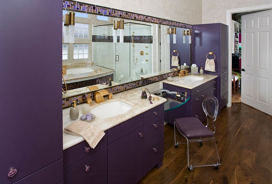 Fabulous purple is perfect for Hollywood Regency style bathroom [Design: Peg Berens Interior Design]