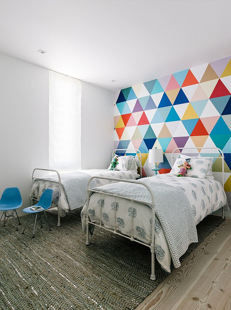 Fabulous wallpaper adds color and pattern to the cool kids' bedroom [Design: Shawback Design]