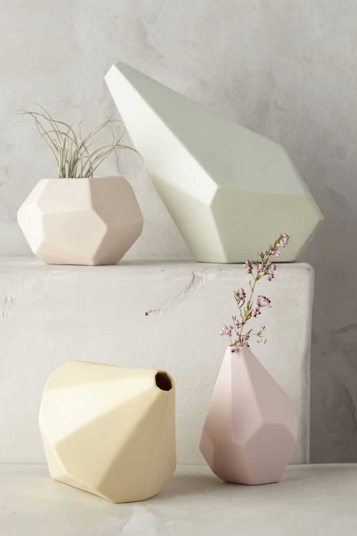 Faceted ceramic vases from Anthropologie
