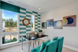 Fascinating use of turquoise stripes in the transitional home office [Design: Quadrant Homes]