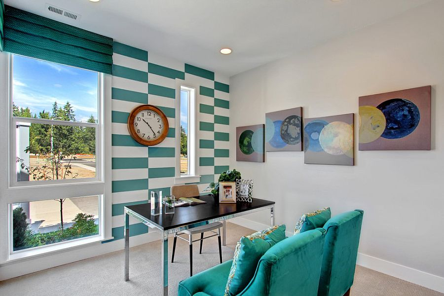 10 striped home office accent wall ideas inspirations view in gallery fascinating use of turquoise stripes in the transitional home office design quadrant homes sciox Choice Image