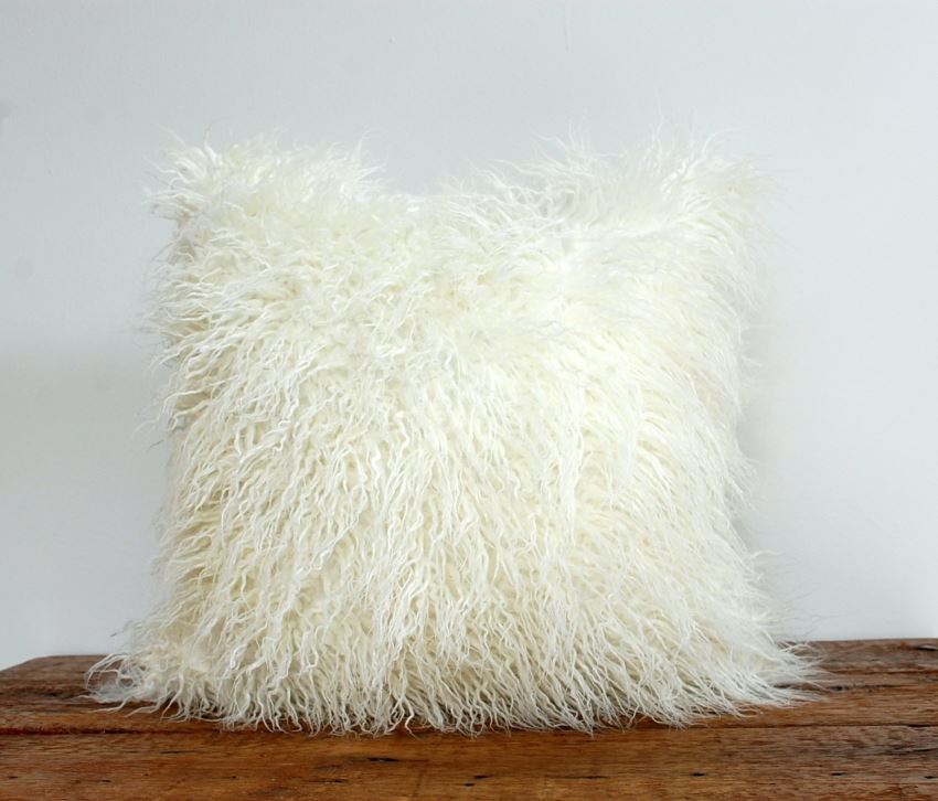 Faux fur pillow cover from Etsy shop Vermont Home Design