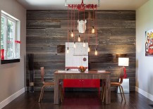 Feature wall in the dining room with stripes from reclaimed wood