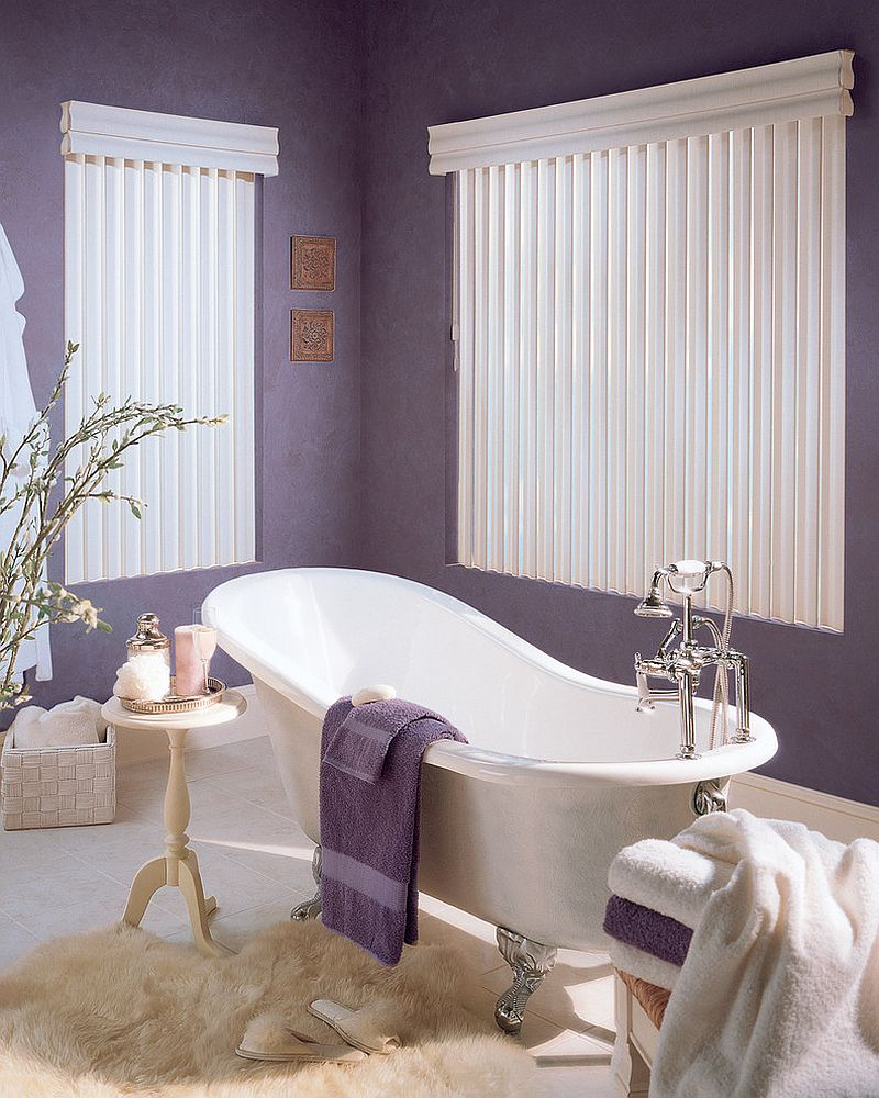 Feminine bathroom idea with a splash of purple design lisa scheff