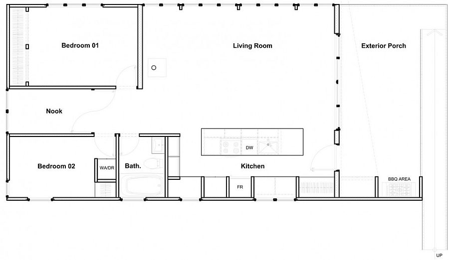Floor plan of the amazing prefab cottage in Quebec with cross laminate timber strucure