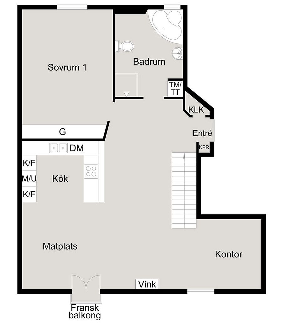 Floor plan of the lower level of cool Scandinavian attic apartment