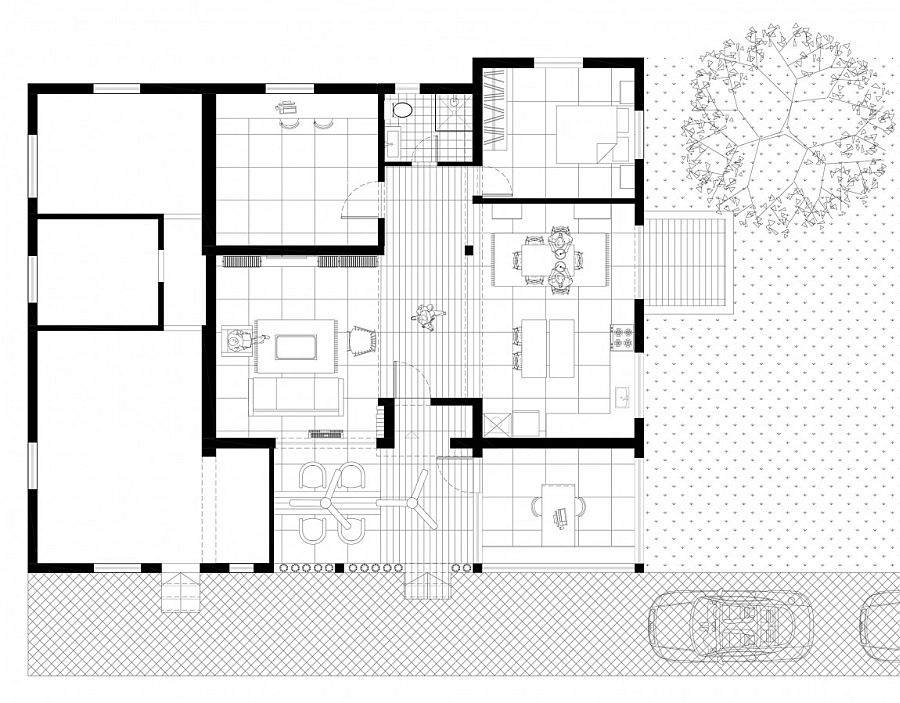 Floor plan of the renovated Moshav home