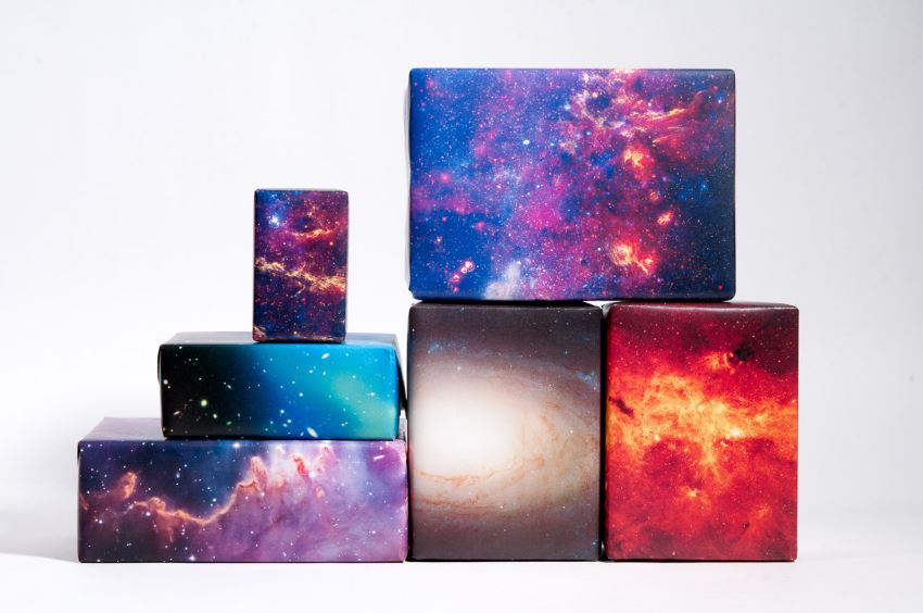 Galaxy wrapping paper from Etsy shop Norman's Printery